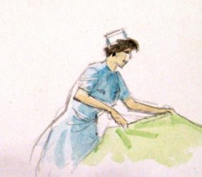 Painting of nurse with sheet