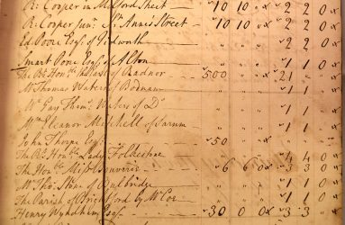 Ledger entry for Earl Radnor's donation