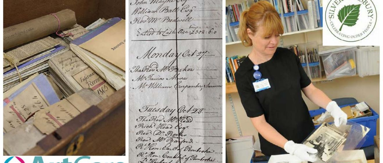montage of old archive documents and Lesley handling old photographs