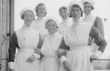 Sister Edwards with other nurses, 1930s