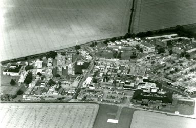 aerial view of Odstock hospital site, showing new unit in foreground