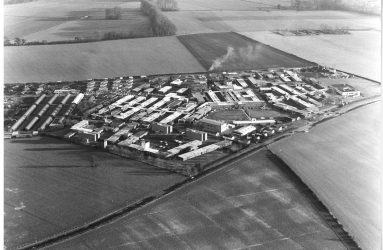 aerial view of Odstock Hospital, two chimneys mark site of new Spinal Unit