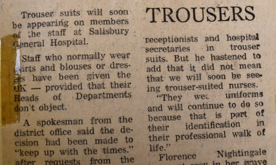 Article describing how female non-clinical staff can now wear trousers to work