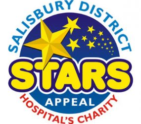 Salisbury District Hospital's charity logo, blue circle with yellow stars