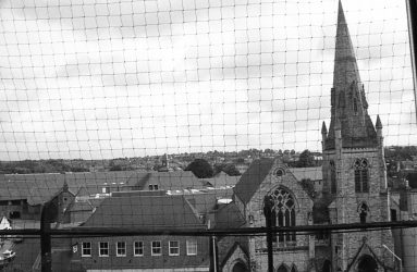 rooftop view of church spire in Fisherton Street
