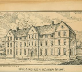 Drawing of proposed three storey nurses home alongside river