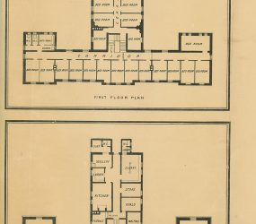 floorplan showing rows of bedrooms along 1st floor corridor and study, sitting room and kitchen on ground floor