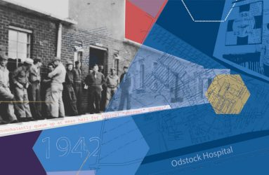 montage of wartime hospital images, soldiers outside canteen, site plans