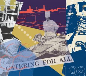 montage of hospital catering staff images, preparing food