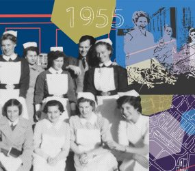 montage of nursing staff and hospital site plan from early 50s
