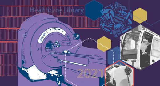 montage of MRI scanner being delivered, healthcare library background outline of books