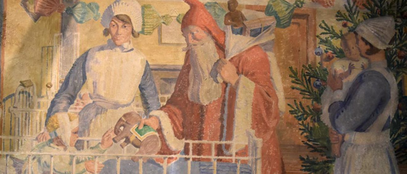 Painting showing nurse with Father Christmas giving present to child in cot